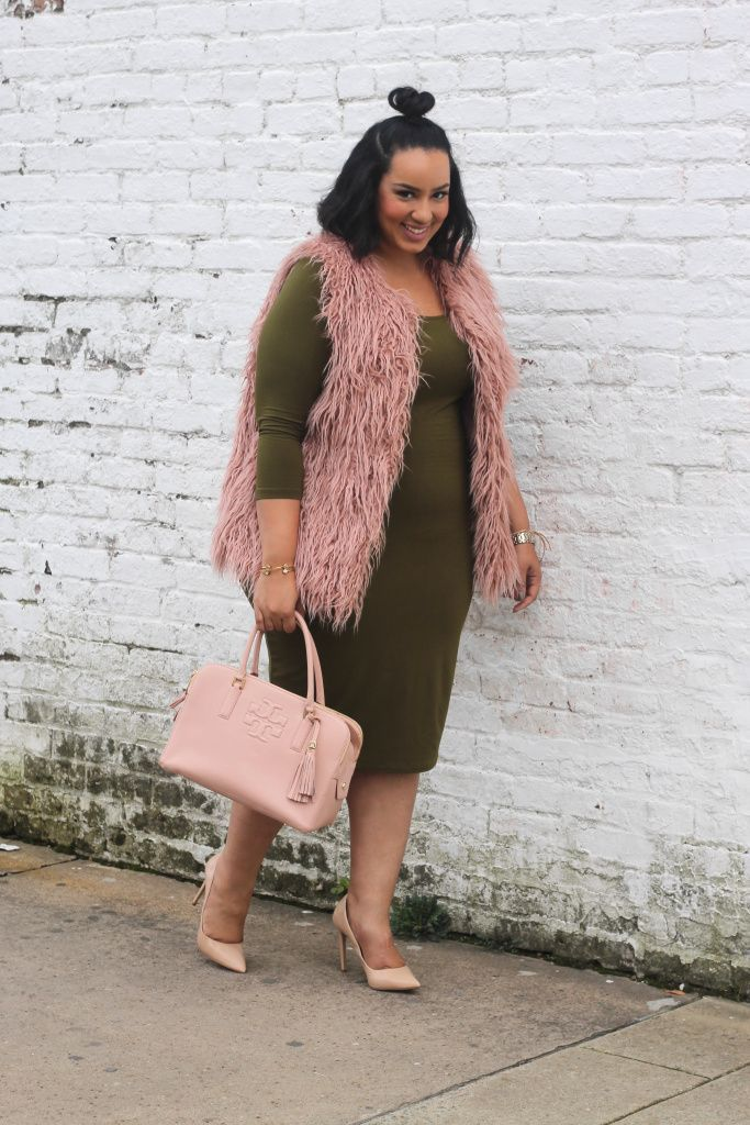 Plus size fur vest and bodycon dress - Beauticurve. For more inbetweenie and plus size style ideas, go to www.dressingup.co.nz