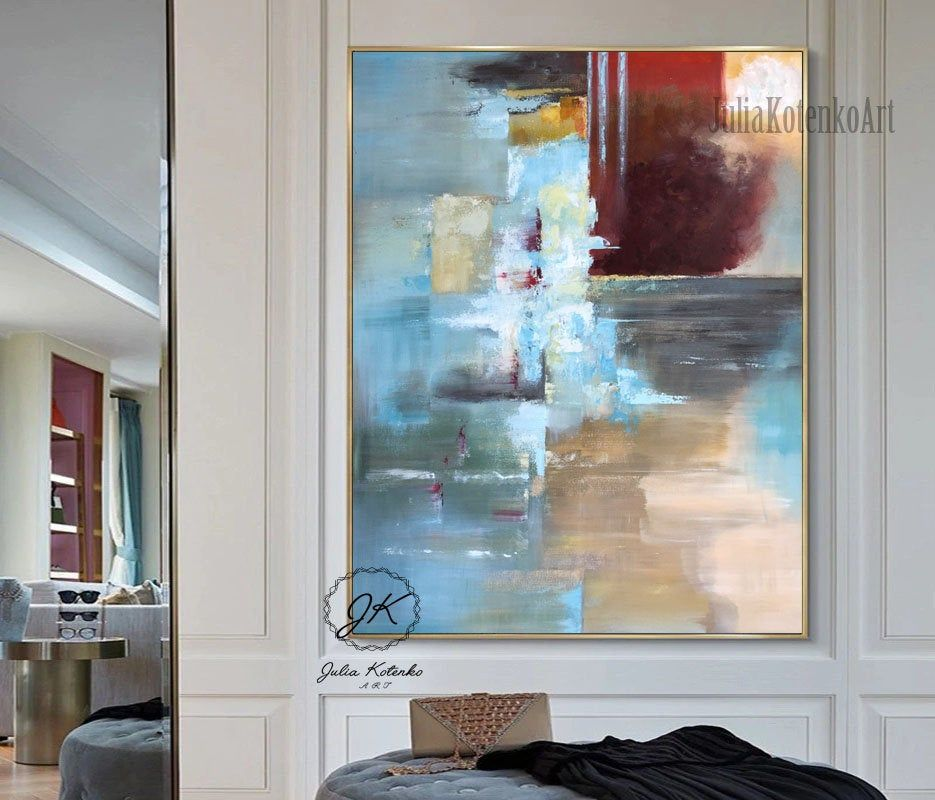 Wall Art Abstract Painting Blue Red Oil Painting Large Wall Art