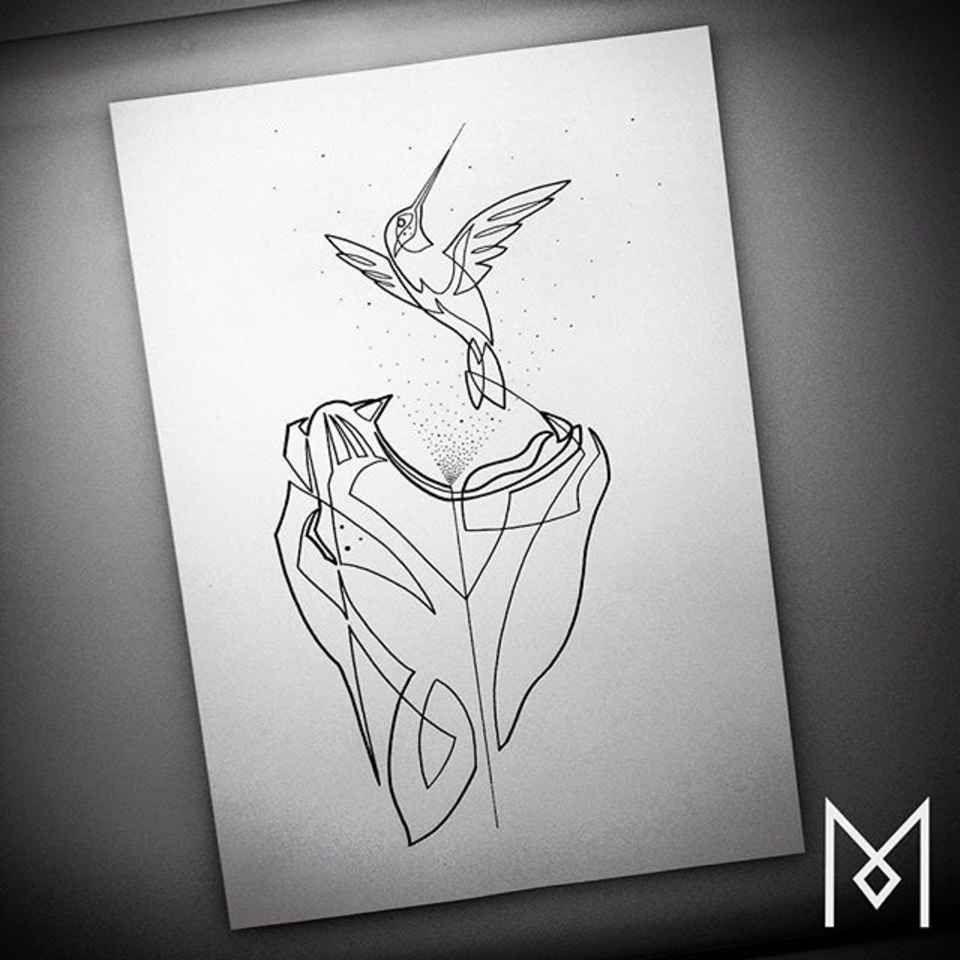 Colibri Tattoo Uomo minimal single-line tattoosmo ganji | linea