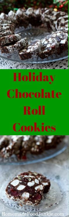 Holiday Chocolate Roll Cookies an easy, make head addition to your holiday treat table by HomemadeFoodJunkie.com  No-bake cookies