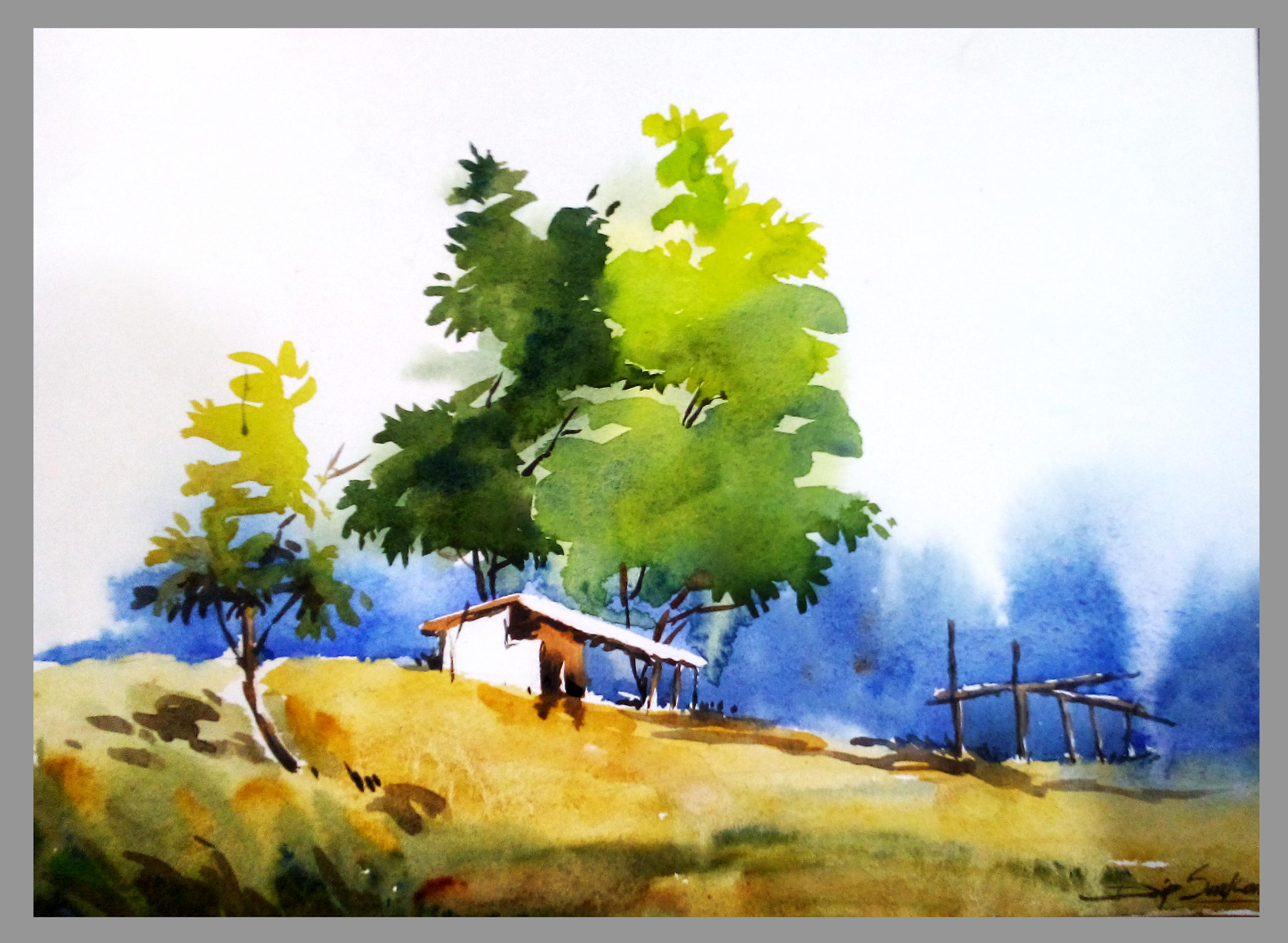 Watercolour On Paper Watercolor Landscape Paintings Landscape Drawings Watercolor Flowers Paintings
