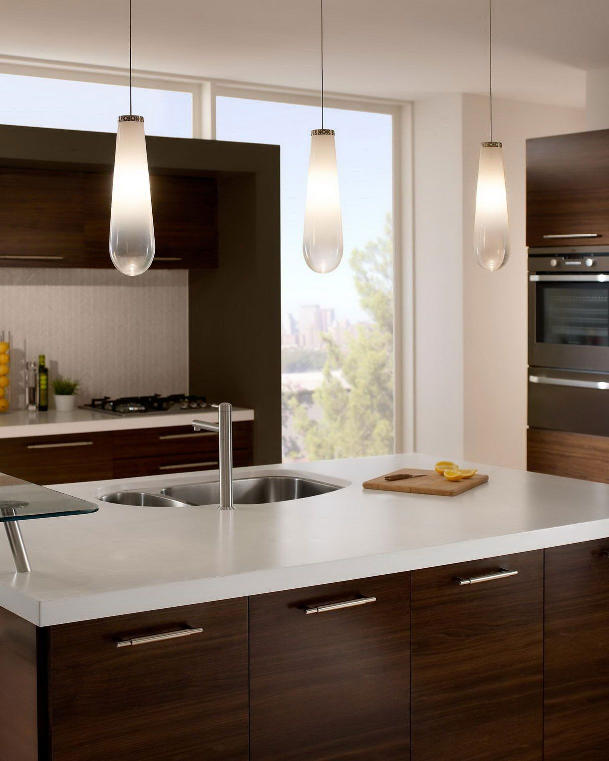 Sleek kitchen designing ideas with laminate teak kitchen island