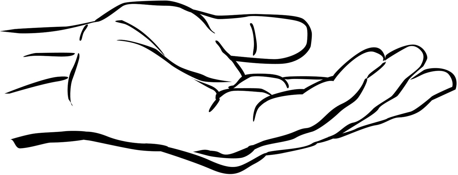 Clipart Black And White Hand Clip Art Outstretched Hand Clipart