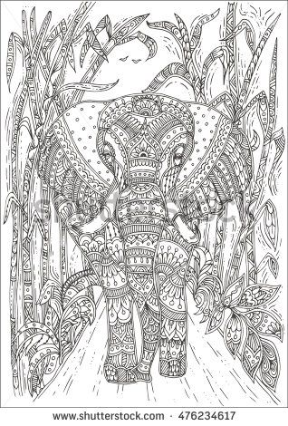 Hand-drawn elephant with ethnic floral doodle pattern. Coloring page ...