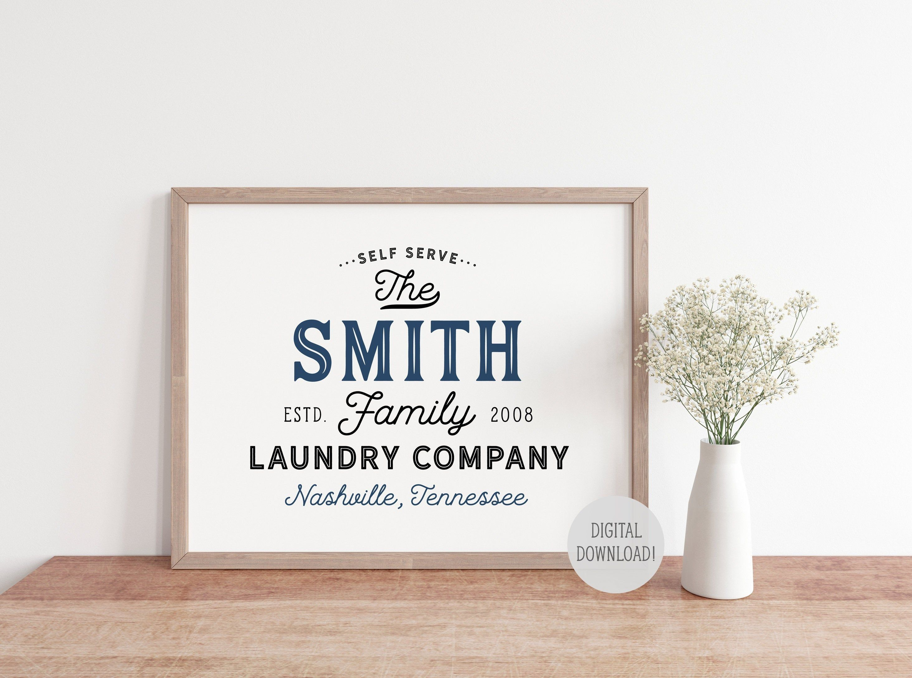 Laundry Room Printable, Personalized Laundry Sign Print, Vintage Farmhouse Wall Art Printable Rustic Laundry Co Room Decor, Digital Download