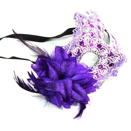 7597a67e4c52 Women's Flower Feather Lace Eye Mask Masquerade Ball Party Halloween Costume  (Purple) New