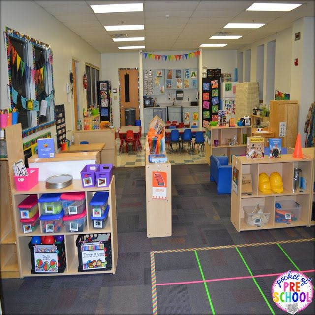 Classroom set up: check out my colorful preschool classroom. Pocket of Preschool #preschoolclassroomsetup