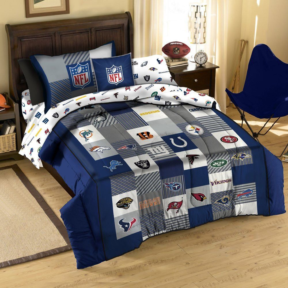 Nfl Football Logo Sport Twin Cotton Quilt Comforter Sham