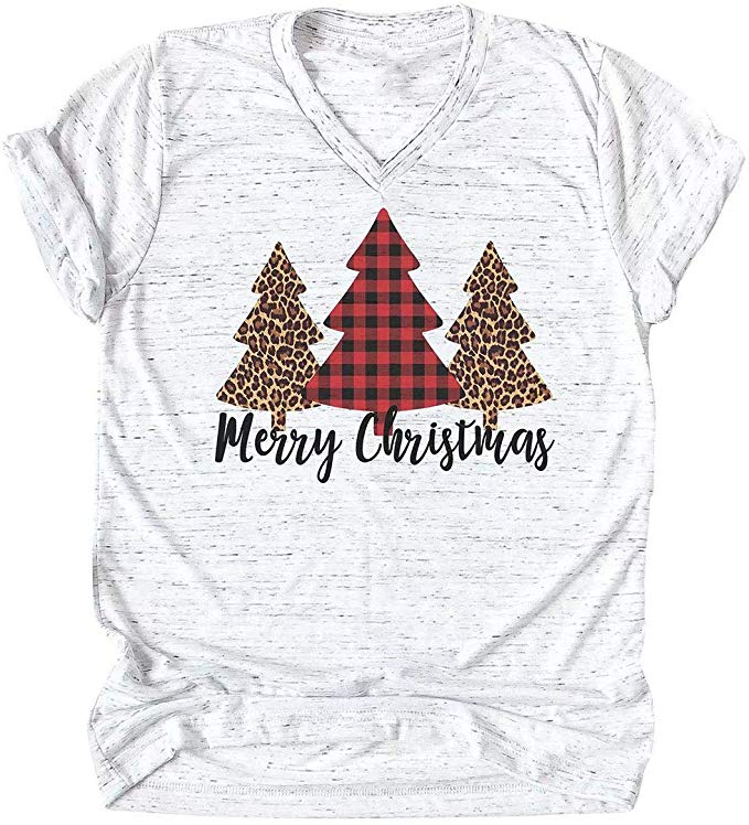 Women Merry Christmas Leopard Plaid Tree Shirt Top Short Sleeve Casual Graphic Print T Shirt