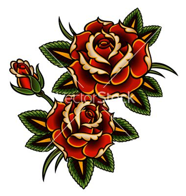 Tattoo Rose Vector Image On Vectorstock Vintage Rose Tattoos Traditional Rose Tattoos Vintage Tattoo