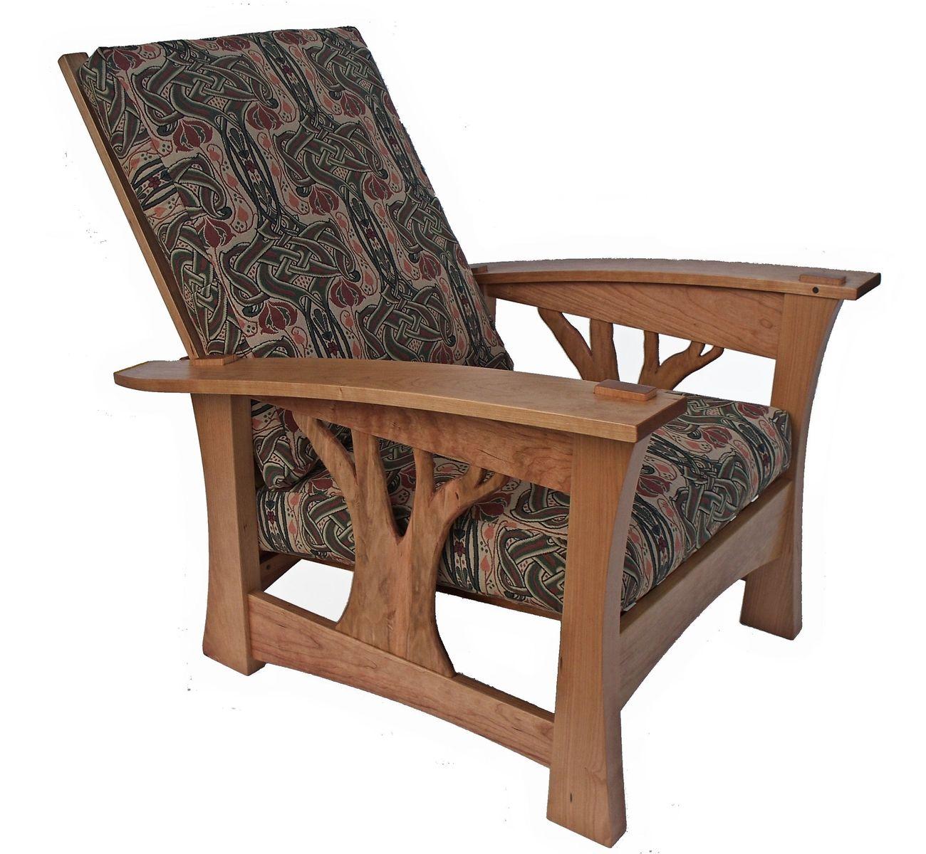 45 Arbor Oak: Arbor Bow Arm Morris Chair Celtic Knot Fabric Brian Brace