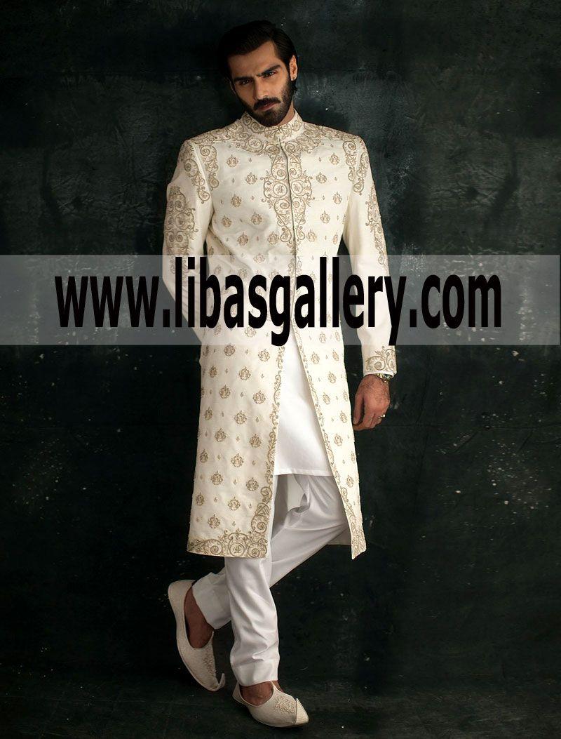 Embroidered Off White Raw Silk Sherwani Ismail Farid For Shadi Wedding Groom Glasgow Uk United Kingdom Sherwani Groom Sherwani Raw Silk