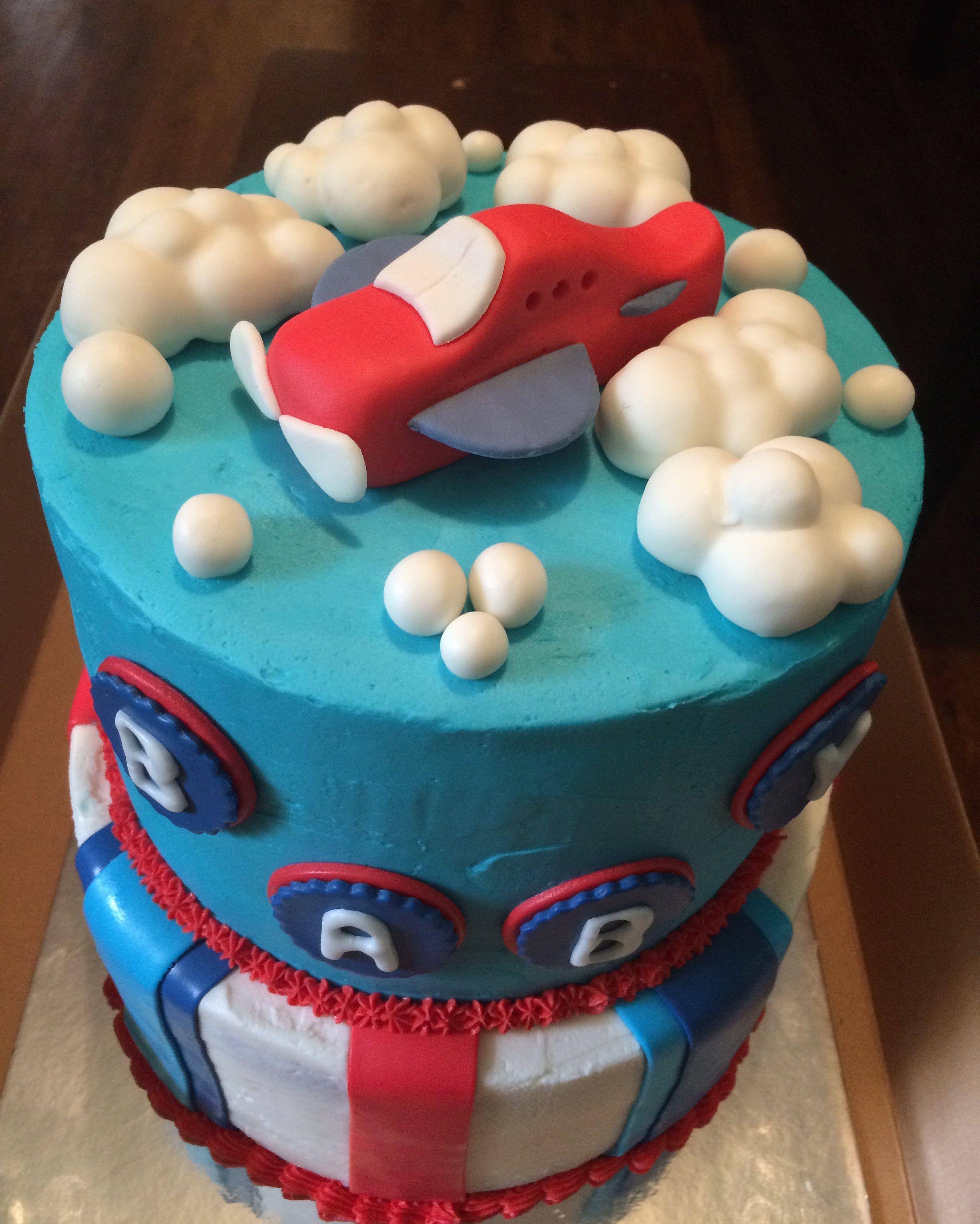 Vintage airplane baby shower cake SweetCakes