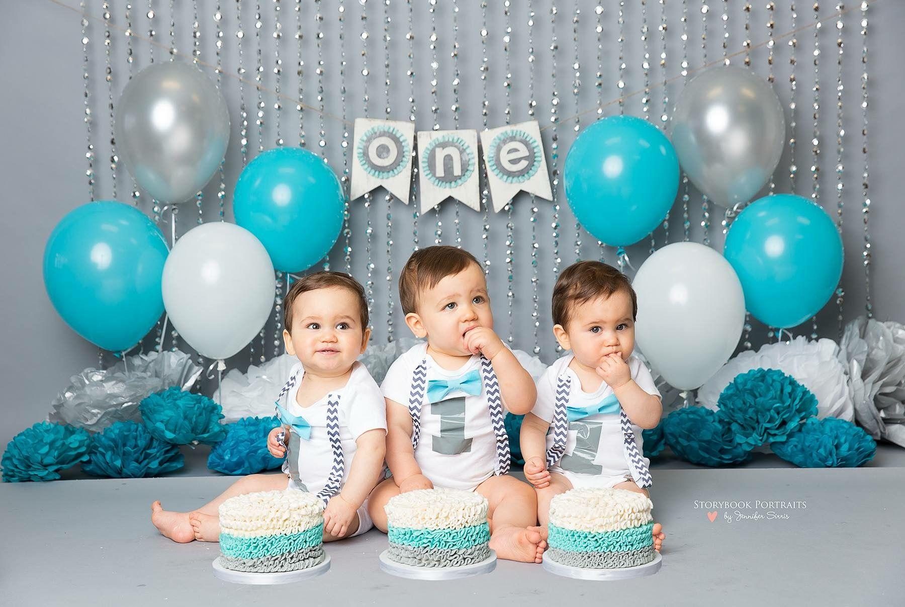 1st Birthday Cake Smash Long Island Photography Triplets