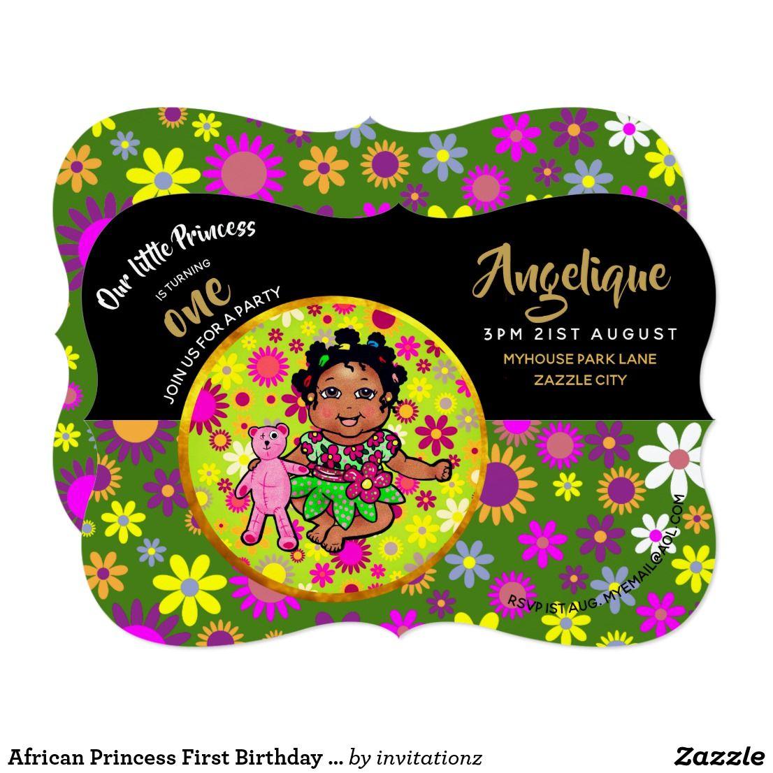 African Princess First Birthday Flowers Cute Card Generators