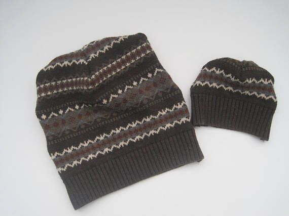 bd2f1a51043bf Father Infant Son Matching Beanies Recycled Sweater Beanies