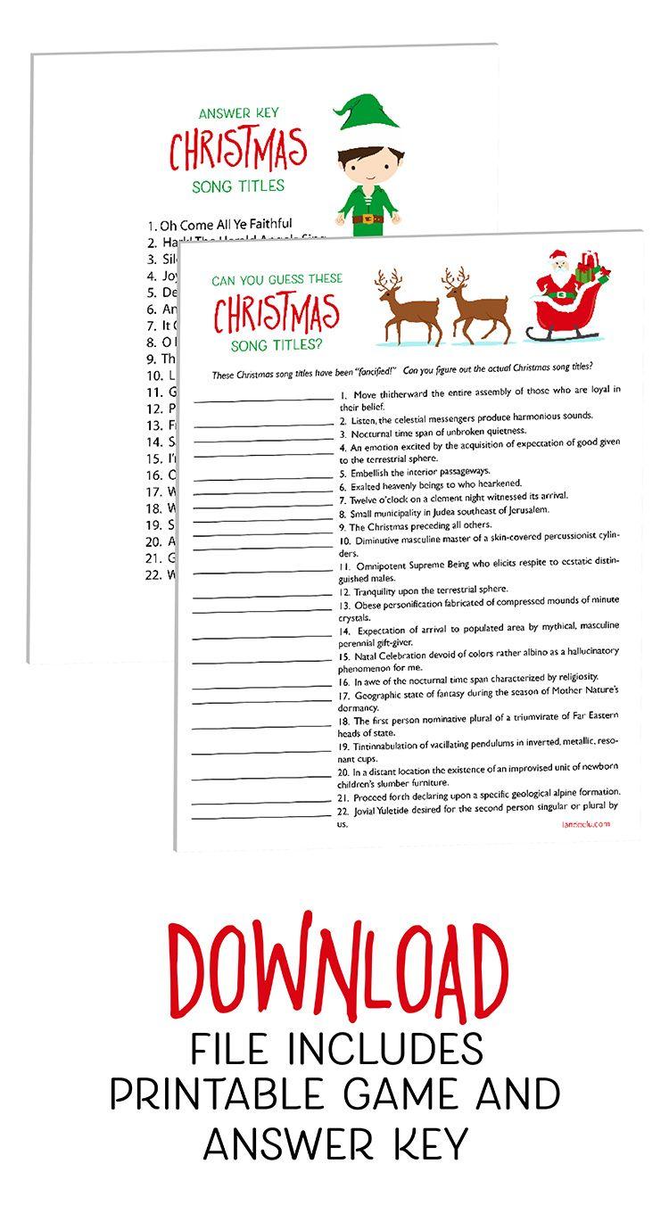 Christmas Games Guess These Christmas Songs! Printable