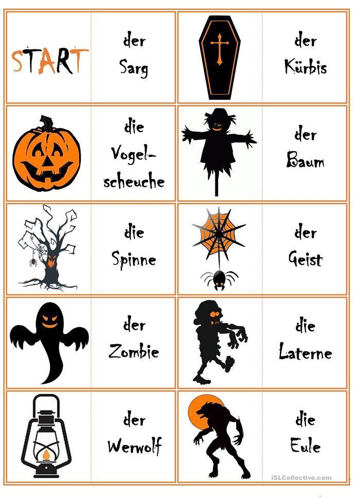 Spiele im Deutschunterricht: Domino – Halloween ERGÄNZTE VERSION!