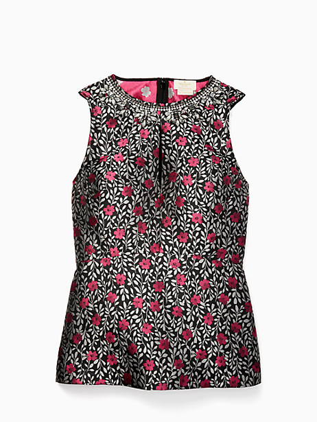 713906db8490 Kate Spade Floral Park Jacquard Top, Black - Size 8 | Products