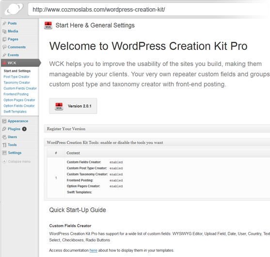WordPress Creation Kit Custom Fields and Custom Post Types