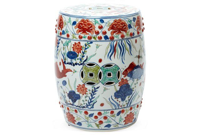 Fish Motif Garden Stool Orange Multi One King S Lane