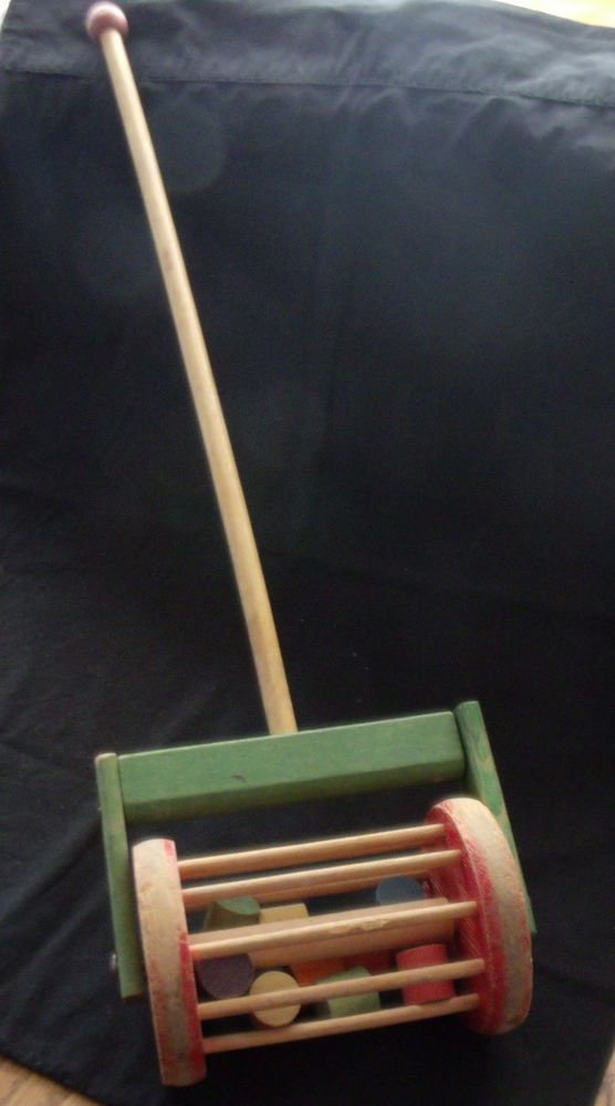 Old Antique Wooden Push Toy Rattle Baby Rattle 1940s Popcorn Popper