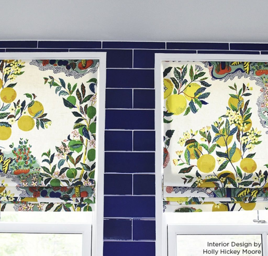 Garden window coverings  schumacher citrus garden custom roman shade kitchen valance window