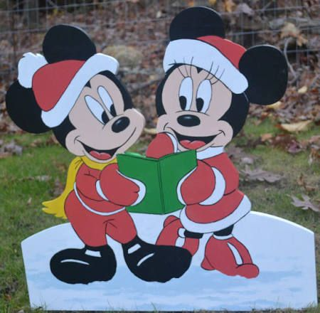mickey and minnie mouse at christmas lawn decorations yard stacke holidays deco - Mickey Mouse Christmas Lawn Decorations