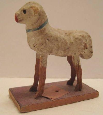 Old German Composition Christmas Sheep on Platform - Pipsqueak Part