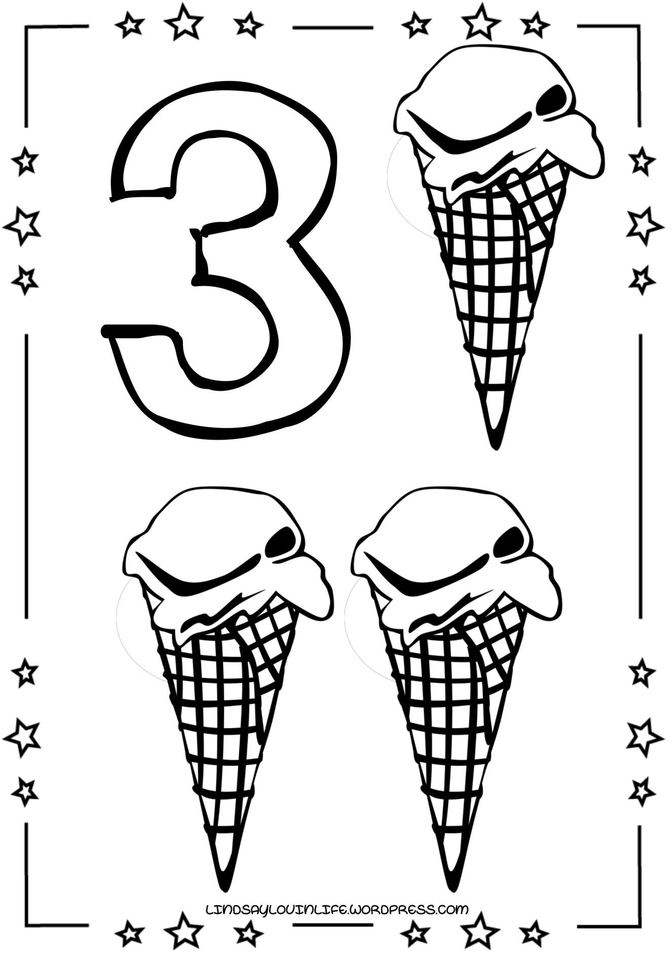 Ice Cream Numbers Colouring Page – Number 3