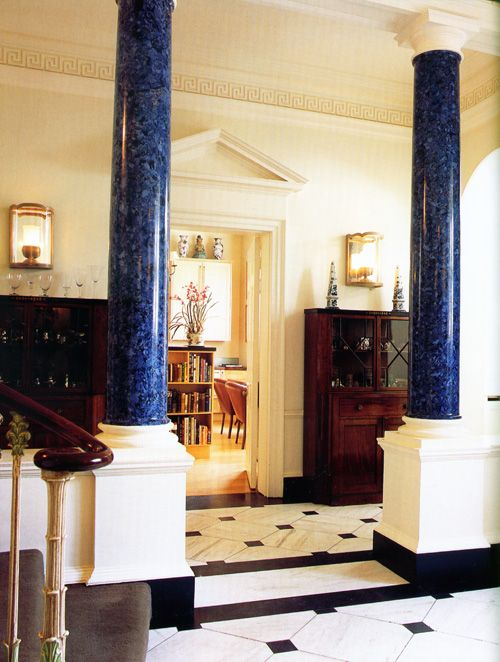 Blue marbled columns. Striking color. From Nina Campbell\'s ...