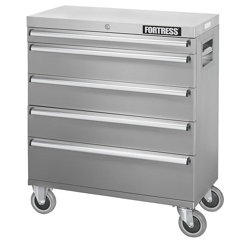 Fortress 113269 32 Inch Wide 5 Drawer Stainless Steel Top Chest Stainless Steel Tool Chest Drawers Stainless Steel
