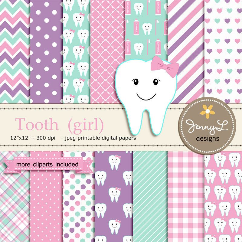Tooth Girl Digital Paper and Clipart SET, Dental Care