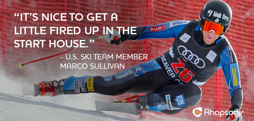 What songs get you fired up?? U.S. Ski Team member #MarcoSullivan talks speed racing & songs that get him pumped!