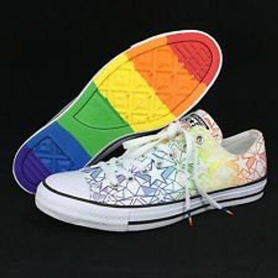 db52da7b60202 Pride Converse Low Top Rainbow Ladies 2017 Geo Star Custom LGTBQ w ...