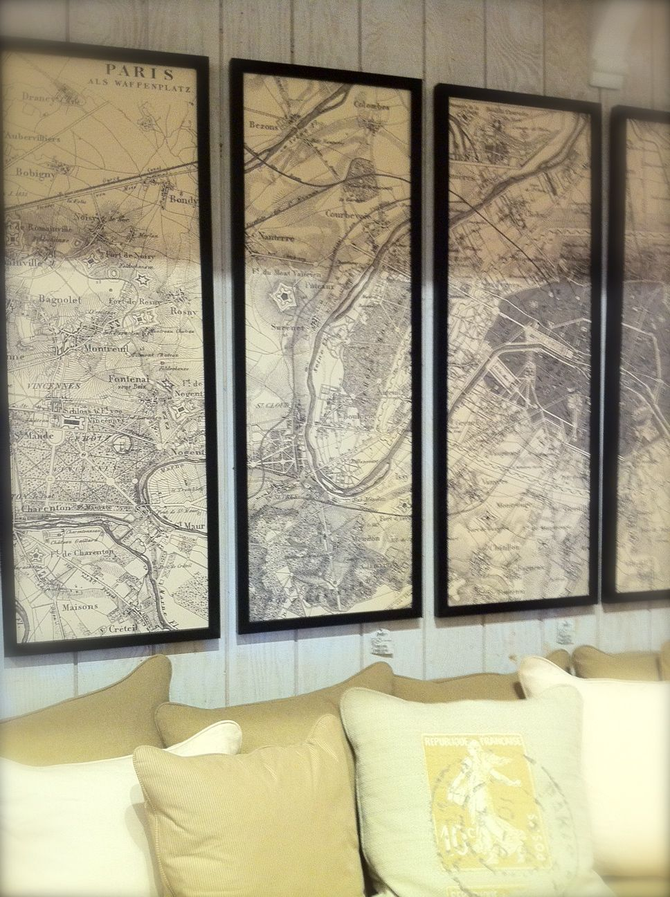 framed sections of a vintage Paris map