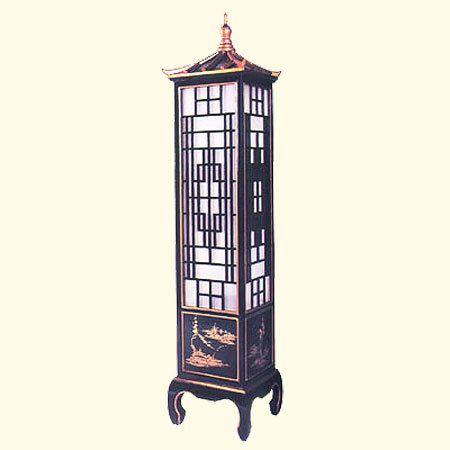 68 H Oriental Pagoda Floor Lamp Black Lacquer Black Floor Lamp