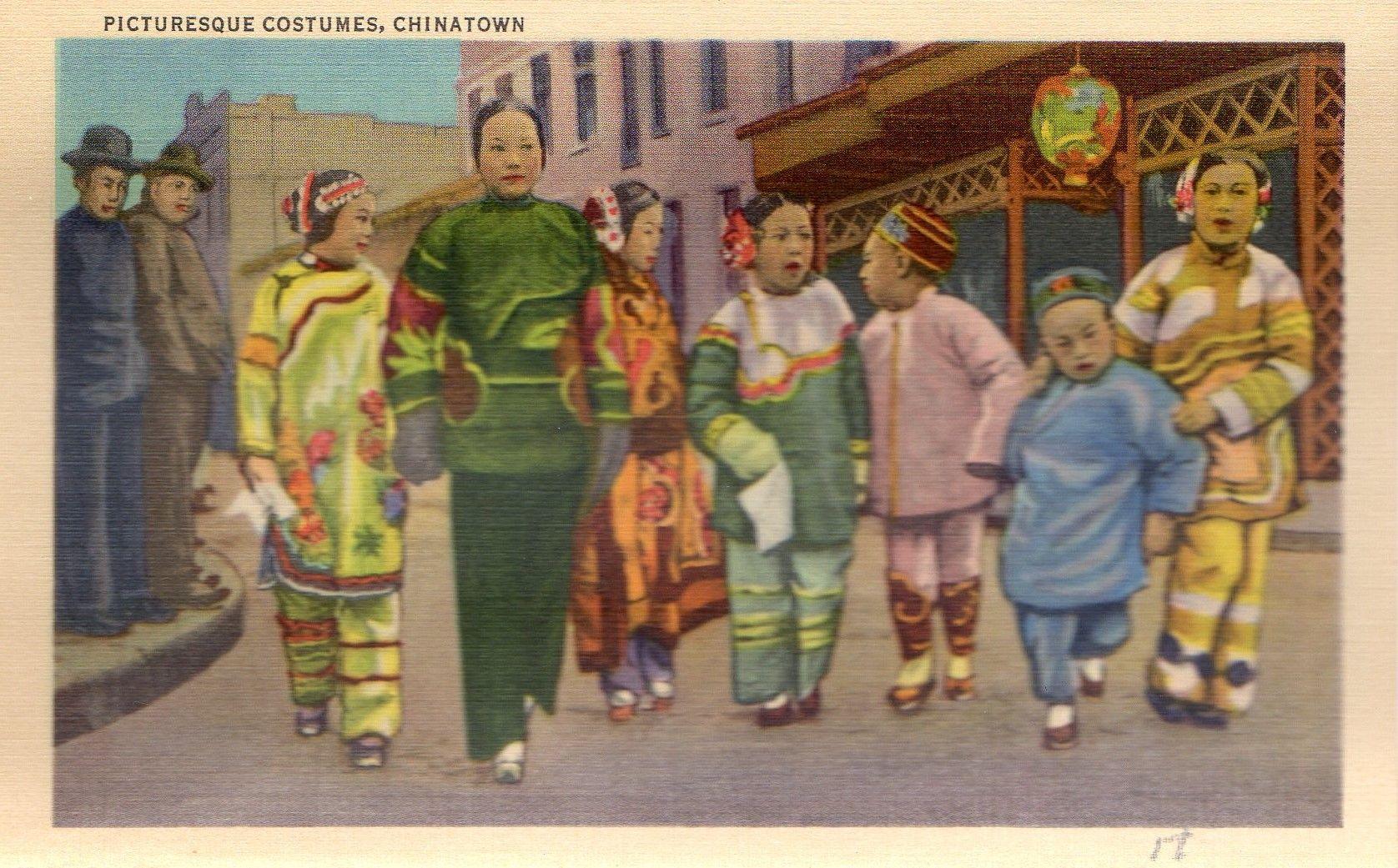 Vintage Postcard shows Picturesque Costumes Chinatown San