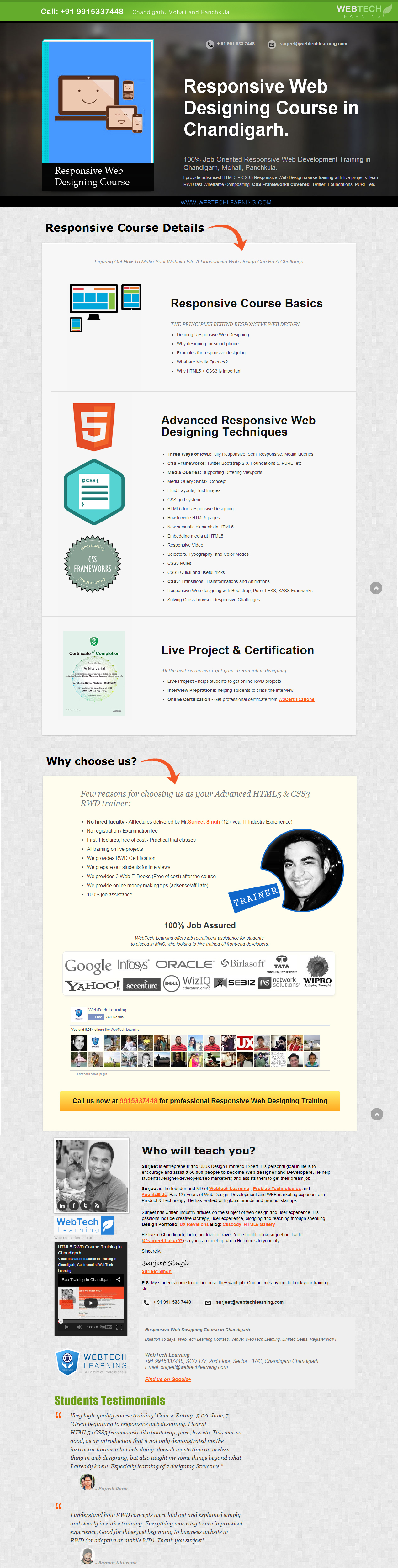 Responsive Web Designing Course Syllabus Http Webtechlearning Com Web Design Course Fun Website Design Web Design