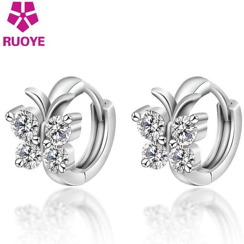 Mode 925 Sterling Silber Luxus Kristall Ohrstecker Schmetterling Design Ohrring Für Frauen Mädchen Ohr Schmuck Geschenk