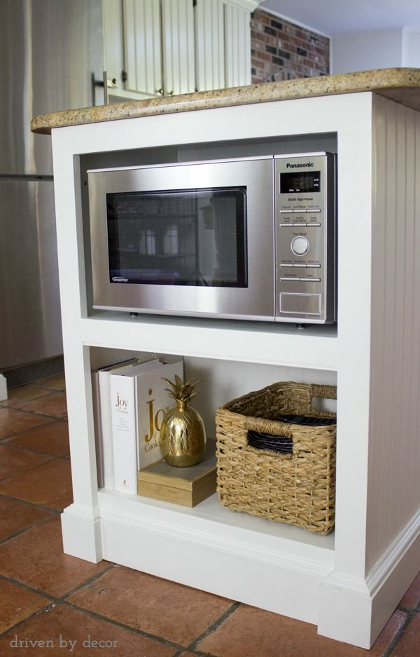 Our remodeled kitchen island with built in microwave shelf - How to vent a microwave on an interior wall ...