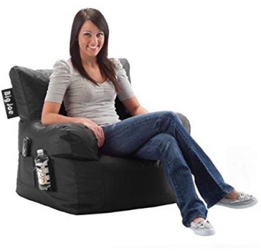 Black Limo Chair Waterproof Fabric Stain Resistant Drink Holder Pocket Dorm  #BigJoe