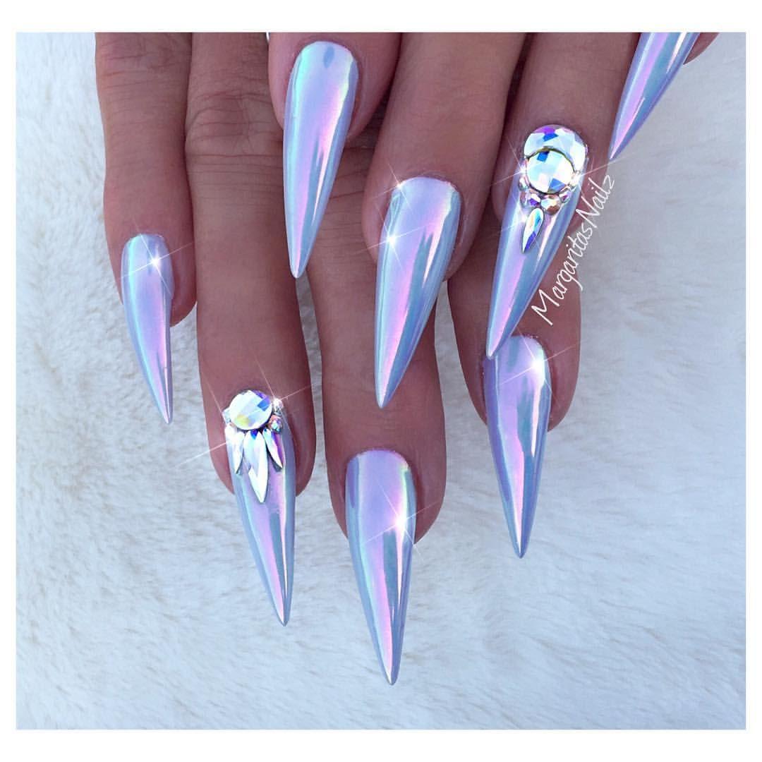 Unicorn Chrome Stiletto Nails Rainbow Nail Art Design