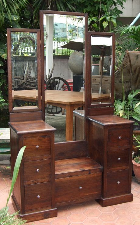 Custom Made Dressing Table Vanity Teak Glass Indian Home Interior Teak Furniture Hardwood Furniture