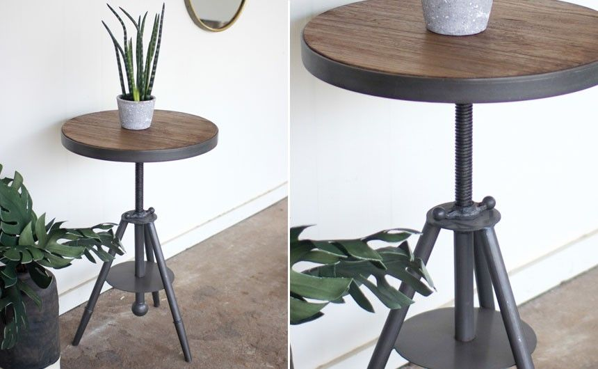 Industrial Wood And Metal Table Round Side Table Rustic Farmhouse Antique Vintage Accent Modern Farmhouse Table Rustic Accent Table Wood And Metal Table
