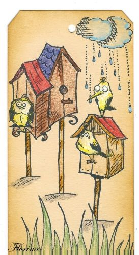 pocket letter avec les tampons oiseaux et leurs accessoires - tampons la compagnie des elfes