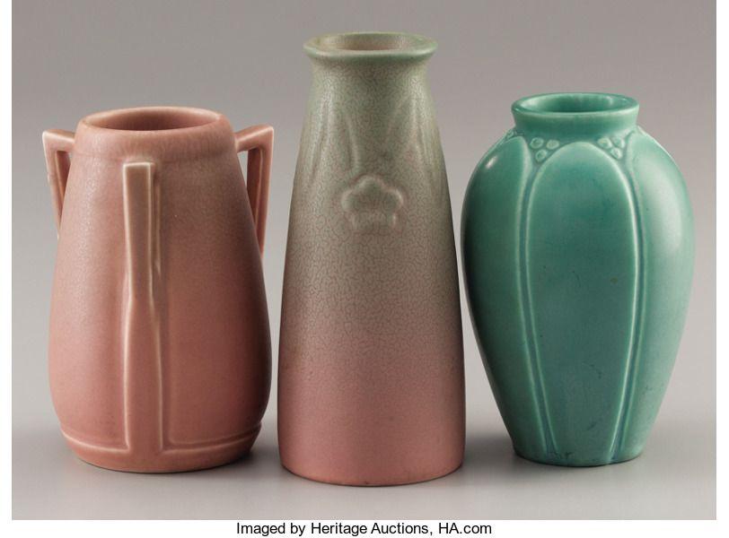 Ceramics Porcelain American Modern 1900 1949 Three American Art Pottery Vases Rookwood Pottery Cincin Pottery Art Collectible Pottery Rookwood Pottery