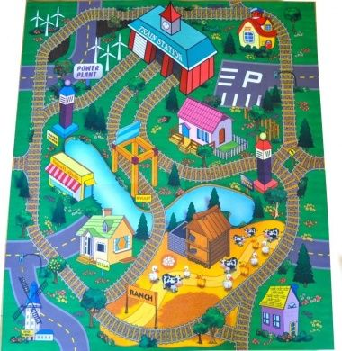 Oushak Rugs Train Station Felt Play Mat with Train Tracks and Road Design