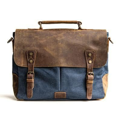 Handmade Gray Waxed Canvas Leather Briefcase Messenger Bag 13   Laptop Bag  1807 37d77e0f7fc23
