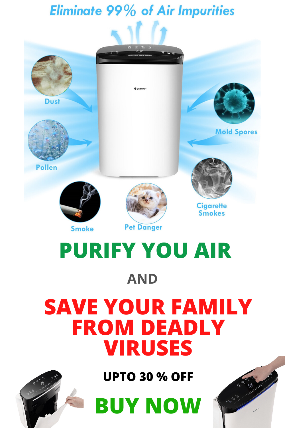 Powerful Air Purifier Cleaner with HEPA Filter in 2020